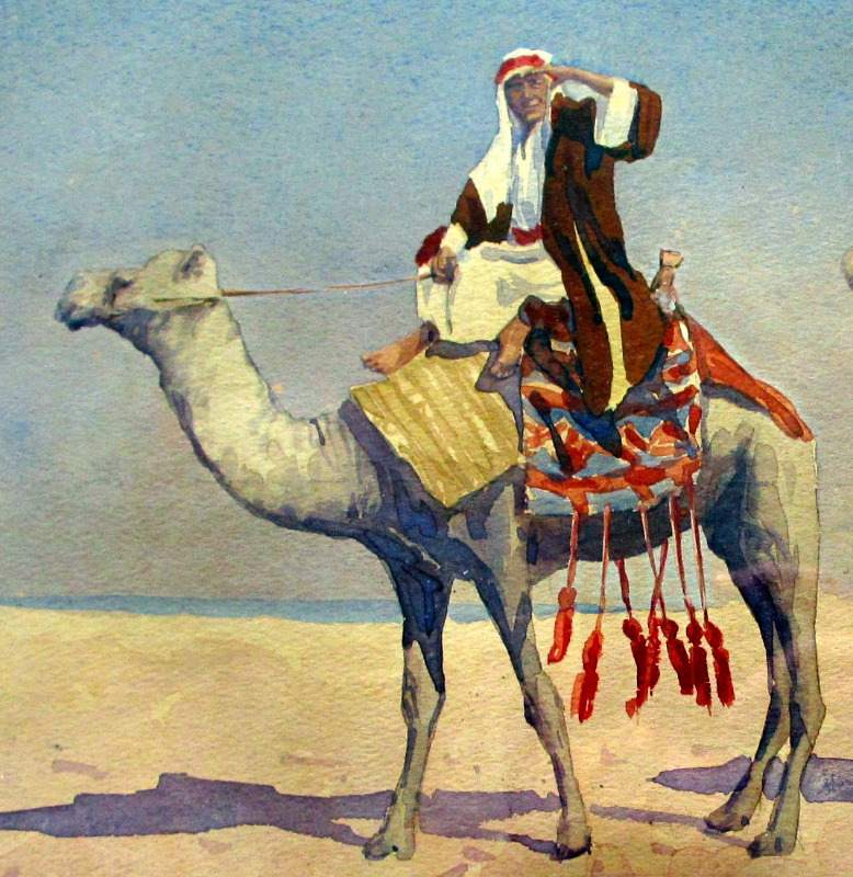 Barbaro, 3 Camels and Riders, watercolour, c1910. Detail.