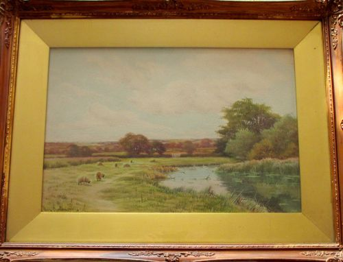 River Landscape with Grazing Sheep, watercolour on paper, signed George Oys