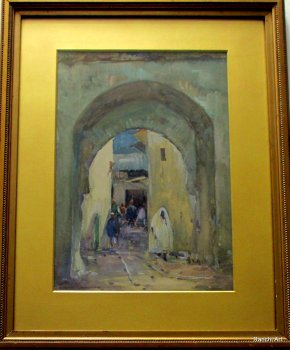 North African Street Scene, watercolour and gouache, signed Knighton Hammond. c1930.  SOLD 02.08.2014.