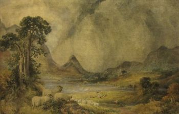 Squally Highland (or possibly Ullswater) Landscape with Sheep and Figures, watercolour on paper, signed W.H. Pigott 1873.