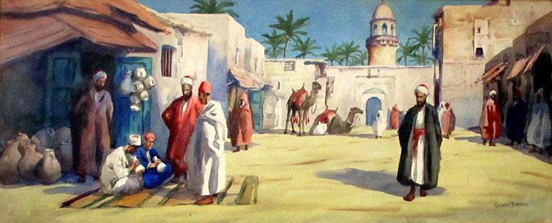 Egyptian Marketplace with Figures and Camels, watercolour on paper, signed Giovanni Barbaro. c1900.