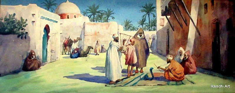 Egyptian Marketplace with Figures, Snake-Charmer and Camels, watercolour on paper, signed Giovanni Barbaro. c1900.