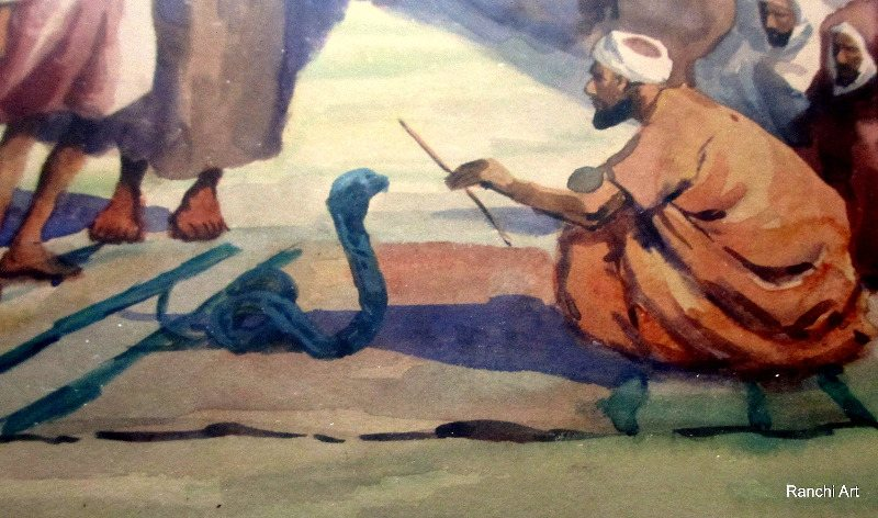 Egyptian Marketplace with Figures, Snake-Charmer and Camels, watercolour on paper, signed Giovanni Barbaro. c1900. Detail.