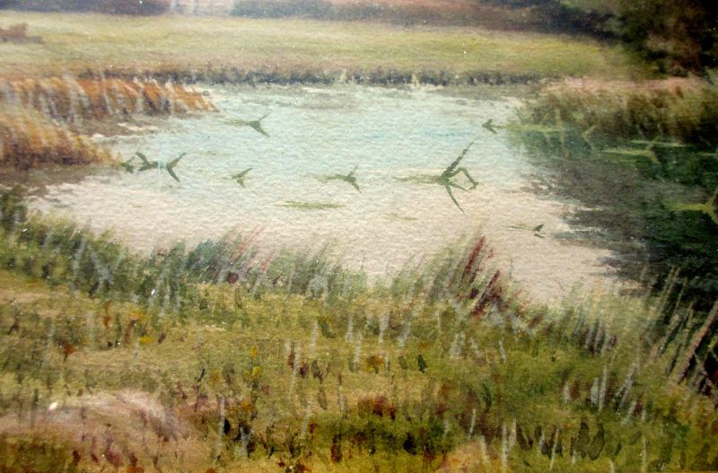 River Landscape with Grazing Sheep, watercolour on paper, signed George Oyston 1921.