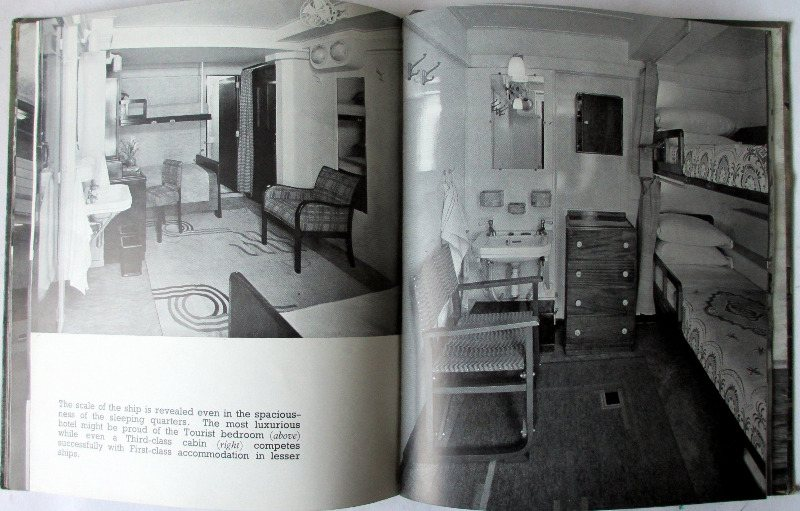 RMS Queen Mary, A Record in Pictures 1930 to 1936. 1st Edition, 1936. Detail.