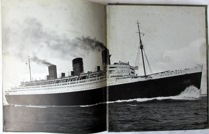 RMS Queen Mary, A Record in Pictures 1930 to 1936. 1st Edition, 1936. Detail. Back double spread photo.