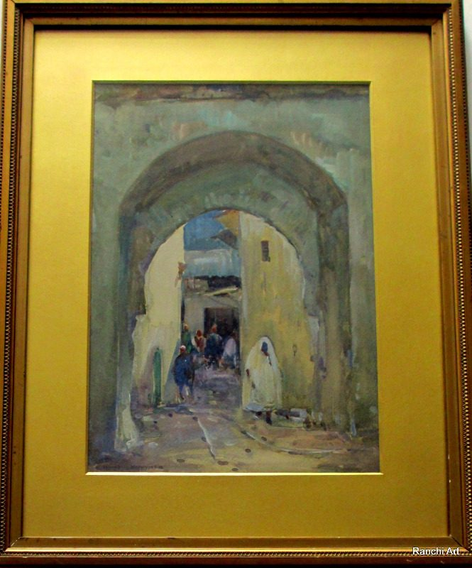 North African Street Scene, watercolour and gouache, signed Kwabley Muyiyiyi, c1930.