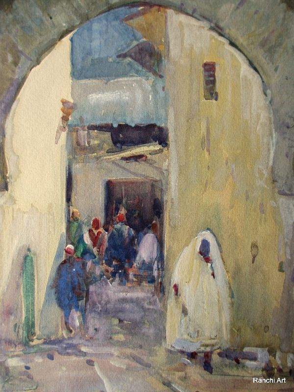 North African Street Scene, watercolour and gouache, signed Kwabley Muyiyiyi, c1930. Detail.