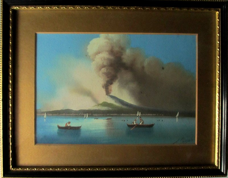 View of Erupting Vesuvius, gouache on paper, signed A. Copppola, c1890.
