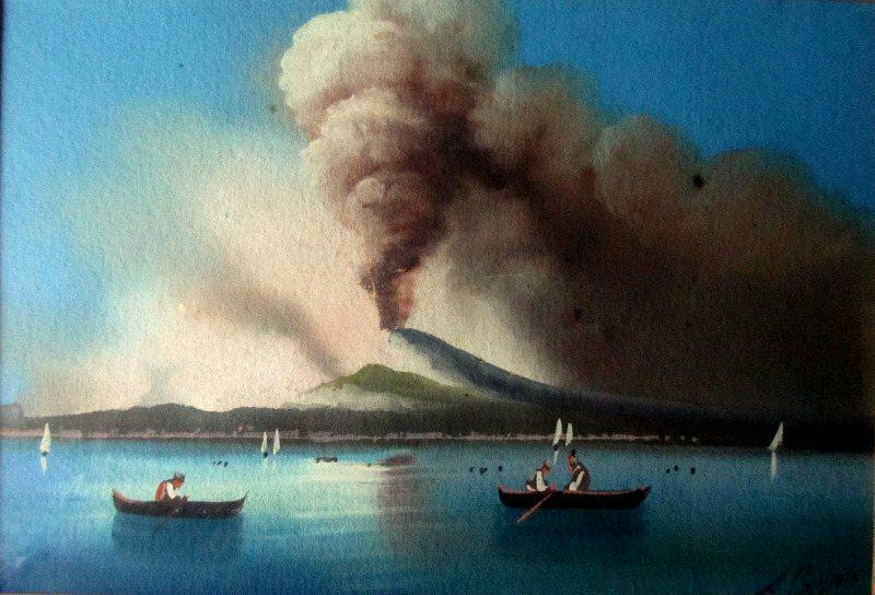 View of Erupting Vesuvius, gouache on paper, signed A. Copppola, c1890.