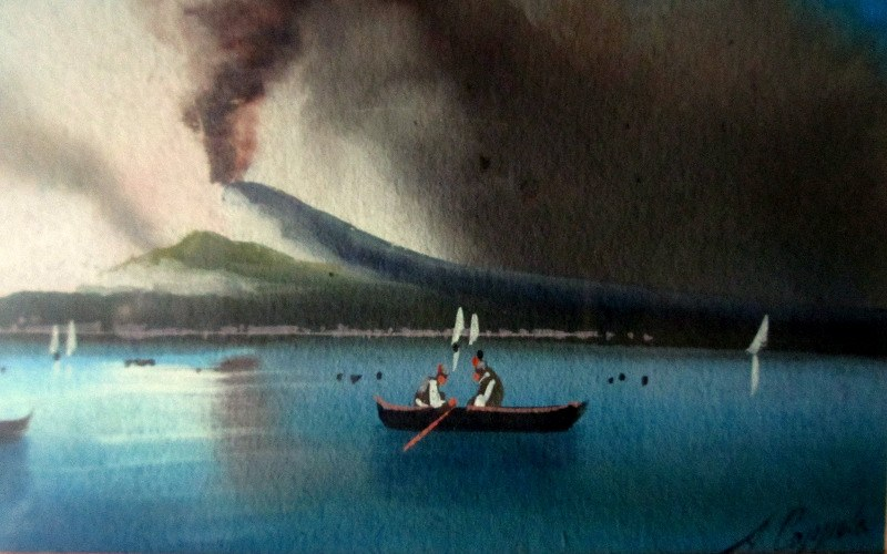 View of Erupting Vesuvius, gouache on paper, signed A. Copppola, c1890. Detail.