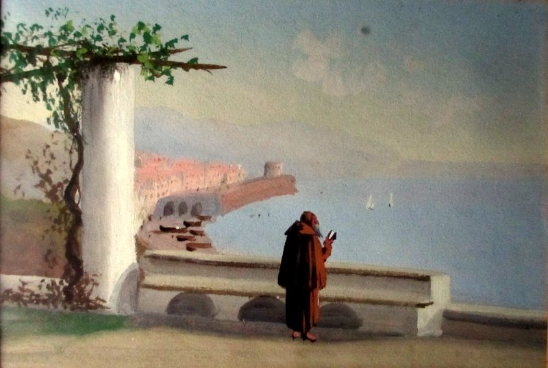 Monk Overlooking Bay of Naples, gouache, unsigned.