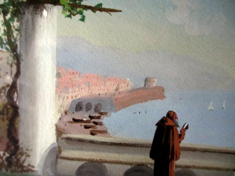 Monk Overlooking Bay of Naples, gouache, unsigned. Detail.
