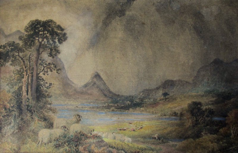 Squally Highland Landscape with Sheep and Figures, watercolour, signed W.H. Pigott, 1873.