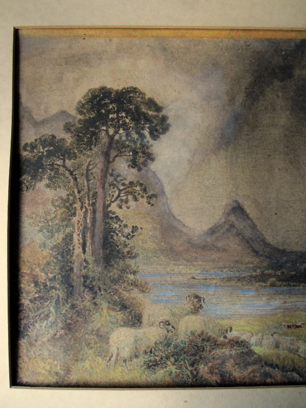 Squally Highland Landscape with Sheep and Figures, watercolour, signed W.H. Pigott, 1873. Detail.