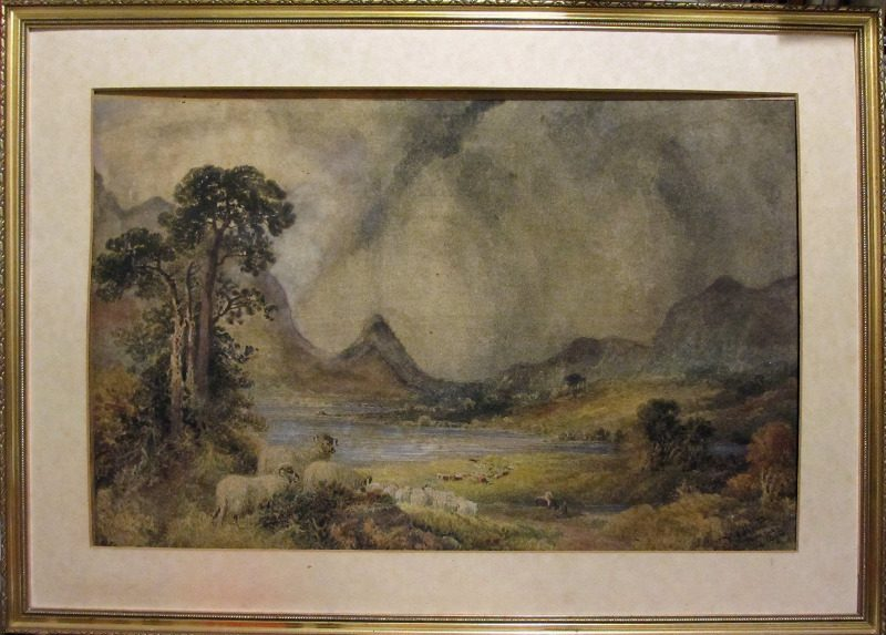 Squally Highland Landscape with Sheep and Figures, watercolour, signed W.H. Pigott, 1873. Viewed in alternative lighting.