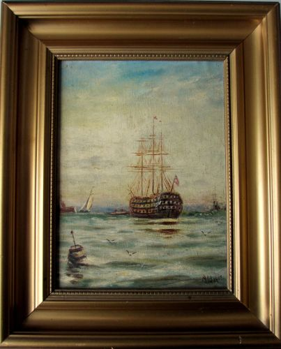 H.M.S. Victory at Moorings, Portsmouth Harbour, oil on board, signed A.W. 1
