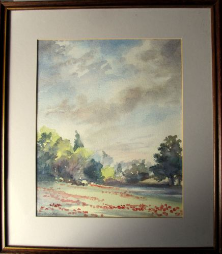 An English Landscape, watercolour on paper, signed Judith Currie. c1990.