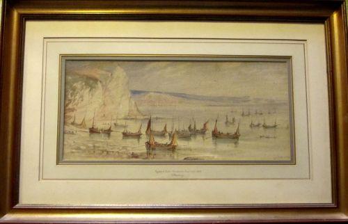Mackerel Boats Becalmed, Beer Cove, 1869, signed W. Newbury 1869. Watercolo