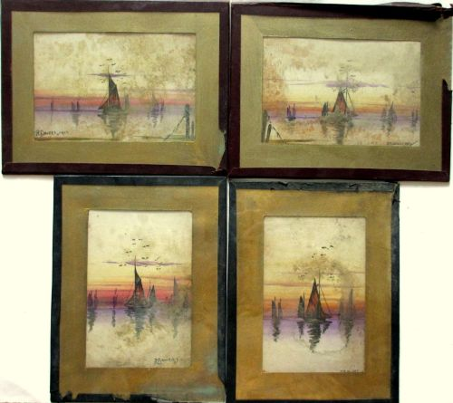 Estuary Scene at Sunset with Sailing Boats, 4 watercolours, signed JE Bower