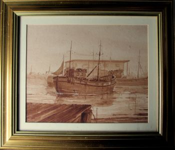 The Harbour Bridlington, watercolour in monochrome, signed Jame North. c1980.   SOLD  25.10.2014.