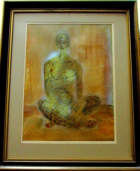 Aureola, acrylic based mixed media on paper, signed 9hs 77. 1977.