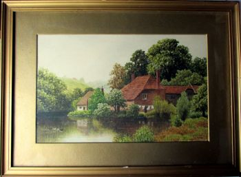 Domestic Riverside Landscape, watercolour on paper, signed C.E. Donner 1921.