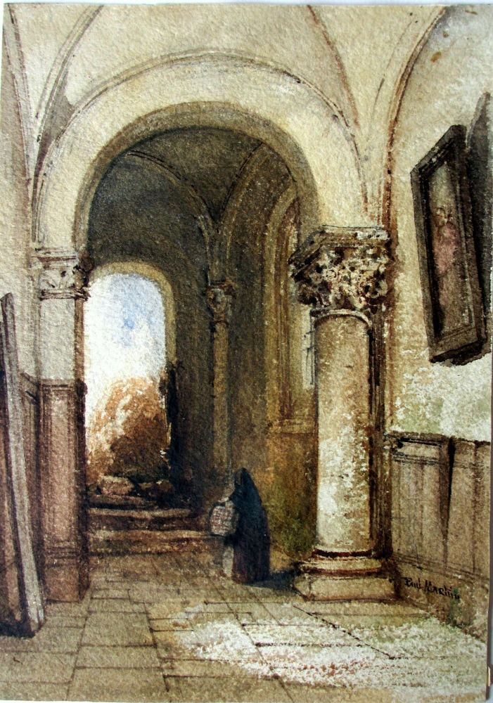 Continental Interior Scene with Norman Archway, watercolour on paper, signe