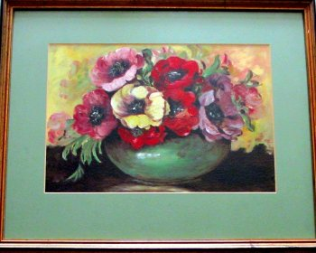 Still-Life Study of Potentillas, oil on board, signed Taplin. c1960. Framed.