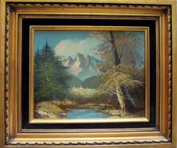 Mountain Landscape, oil on board, signed Tomas. c1970.