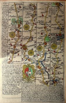The Road via Southam, Princethorpe, Coventry, Nuneaton, Atherston, Ashby de la Zouch to Darby. Original engraving, 1736.  SOLD  10.06.2014.