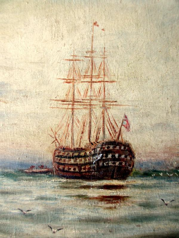 HMS Victory at Moorings Portsmouth Harbour, oil on board, signed initials A.W. 1912.