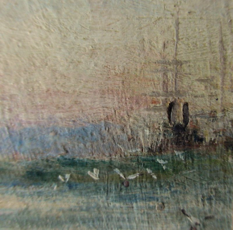 HMS Victory at Moorings Portsmouth Harbour, oil on board, signed initials A.W. 1912. Detail.