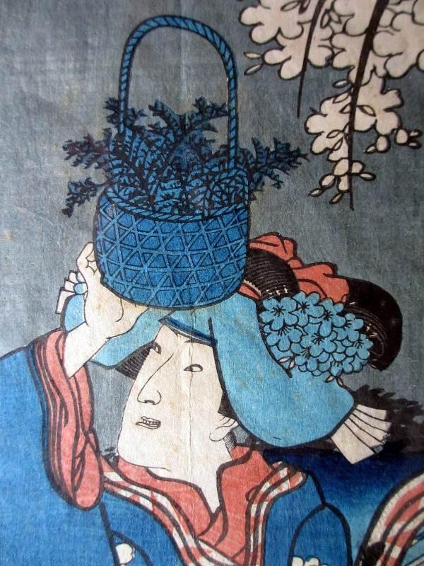 Original Woodblock Print bearing seal Kunisada Utagawa (1786-1864). c1830. Detail.