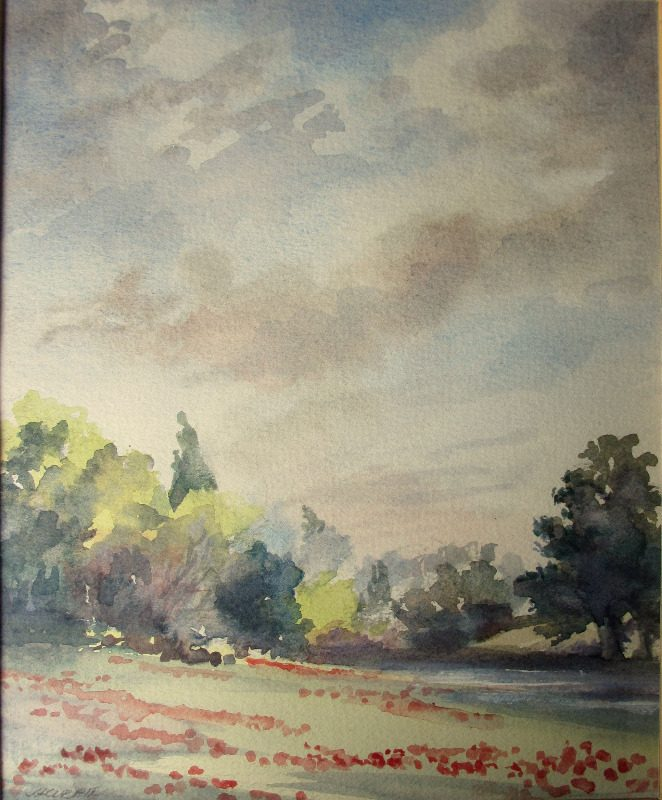 An English Landscape, watercolour, signed J. Currie. c1990.