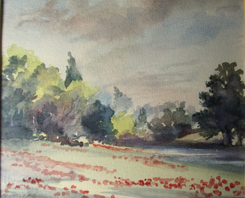 An English Landscape, watercolour, signed J. Currie. c1990. Detail.