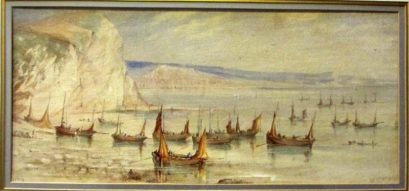 Mackerel Boats Becalmed, Beer Cove, 1869, watercolour, signed W, Newbury, 1869.