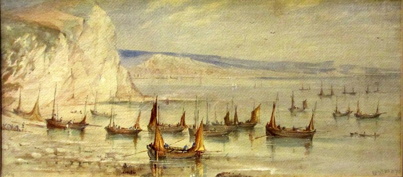 Mackerel Boats Becalmed, Beer Cove, 1869, watercolour, signed W, Newbury, 1869.