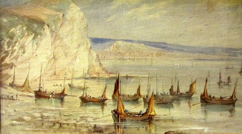 Mackerel Boats Becalmed, Beer Cove, 1869, watercolour, signed W, Newbury, 1869. Detail.