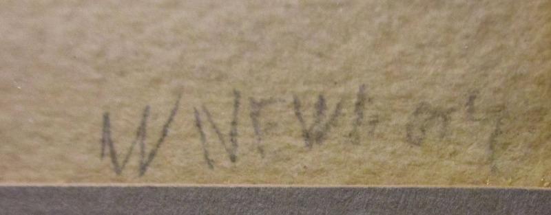 Mackerel Boats Becalmed, Beer Cove, 1869, watercolour, signed W, Newbury, 1869. Detail. Signature.