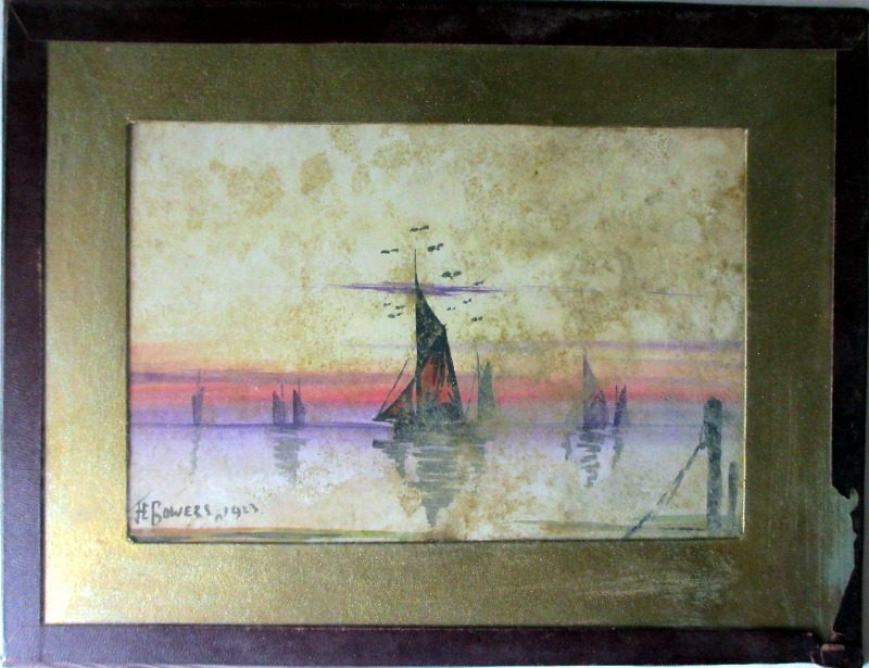 Estuary Scene at Sunset with Sailing Boats, watercolours on paper, signed JE Bowers, 1923.