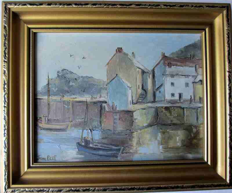 Polperro Harbour, Cornwall, oil on board, signed  Joan Peet c1980.
