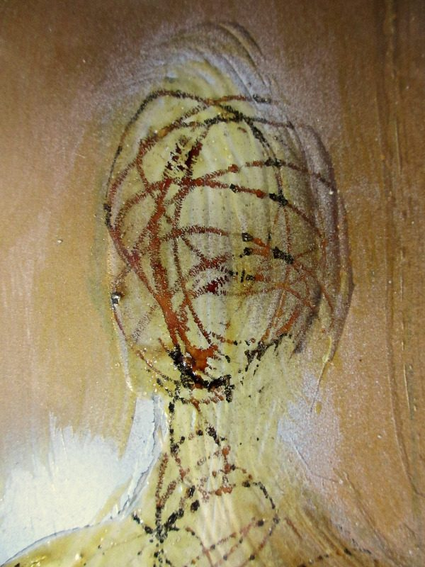 Aureola, acrylic on paper, signed 9hs 77, 1977. Detail.