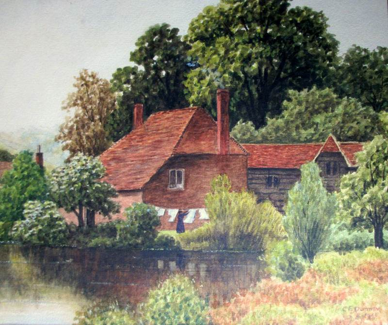 Domestic Riverside Landscape, watercolour, signed C.E. Donner 1921.
