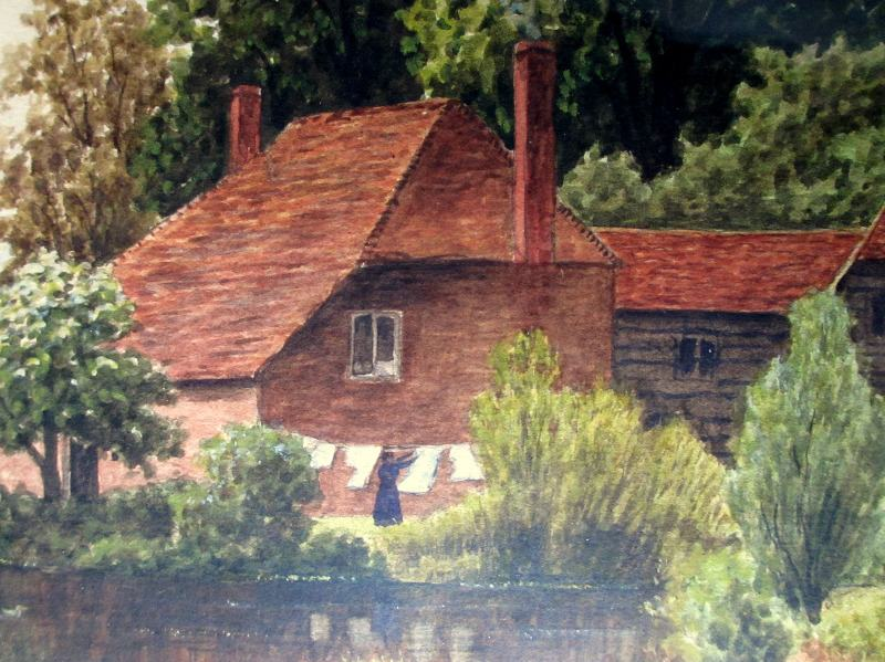 Domestic Riverside Landscape, watercolour, signed C.E. Donner 1921. Detail.