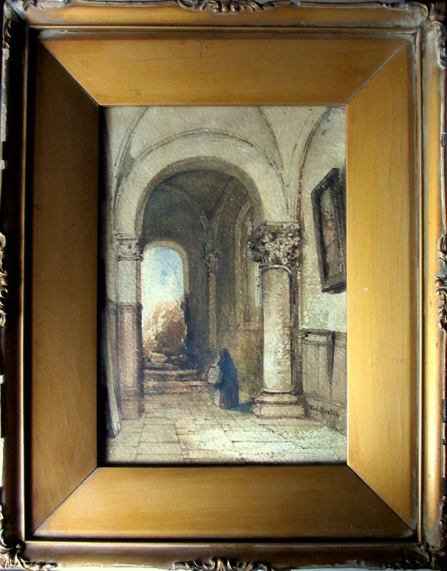 Continental Interior Scene with Norman Archway, watercolour, signed Paul Martin. c1860.