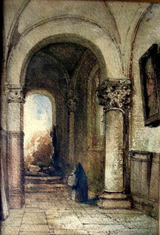 Continental Interior Scene with Norman Archway, watercolour, signed Paul Martin. c1860. Detail.