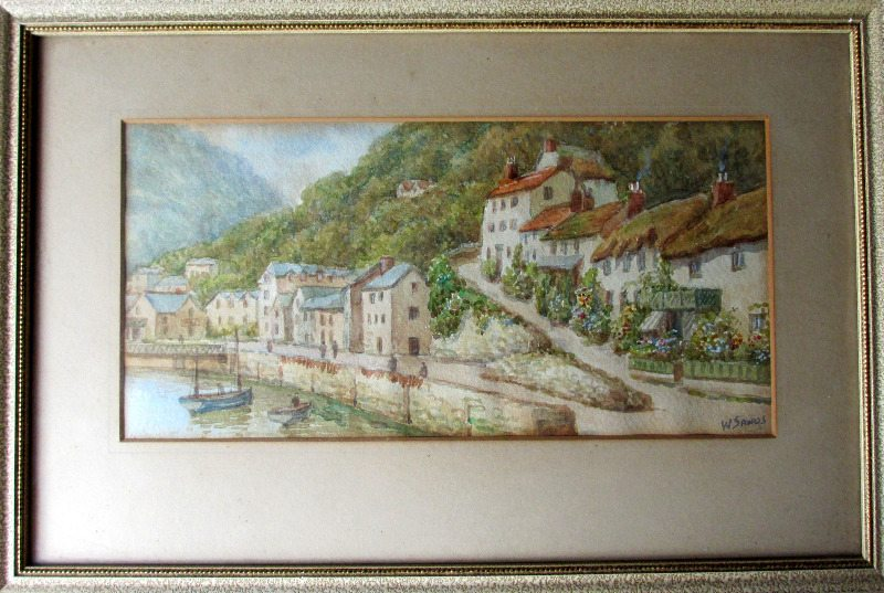 Lynmouth, North Devon, watercolour on paper,  W. Sands (T.H. Victor). c1930.