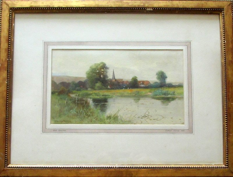 Near Alfriston, East Sussex, watercolour on paper, signed  George Oyston 1899.