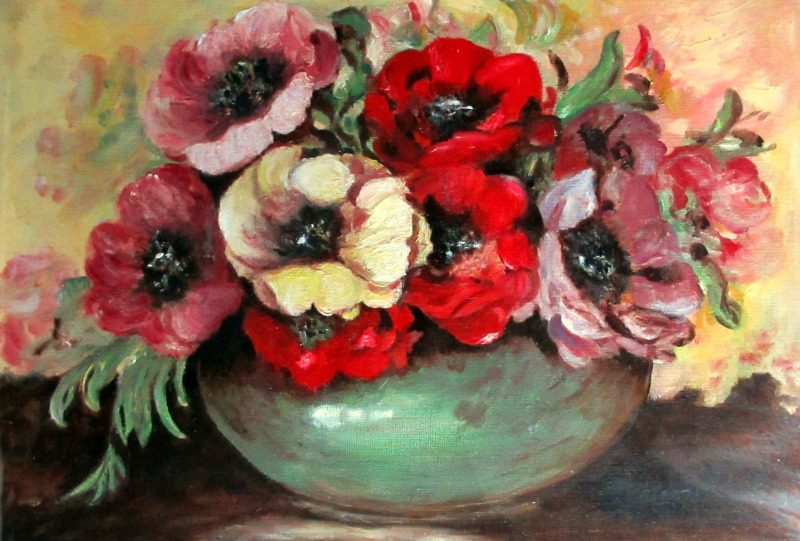 Still-Life Study of Potentilla Flowers in a Green Bowl, signed TAPLIN. c1960.